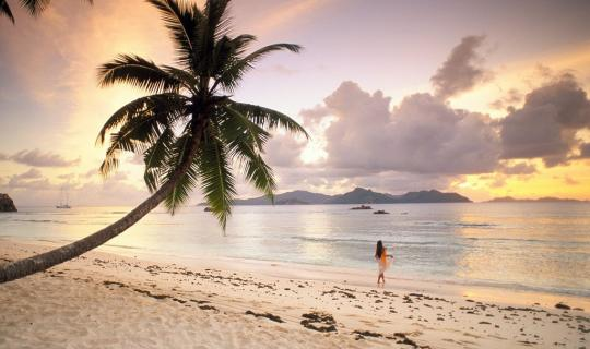 Romantic sunset on La Digue