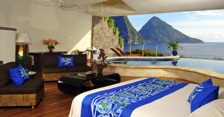 Jade Mountain - Bedroom with a view
